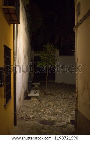 Alleyway Moorish Quarter Albayzin Night Granada Stock Photo (Edit