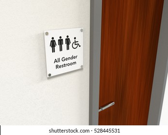All-gender restroom signage next to a wooden restroom door showing icons of man, woman, transgender and wheelchair user; black icons on white background