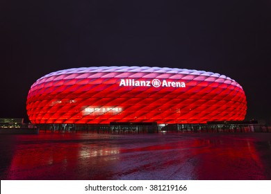 Allianz Arena at Night, Munich, Germany - 4 Feb 2016: It is the football stadium of FC Bayern Munich. It is designed by Herzog & de Meuron.