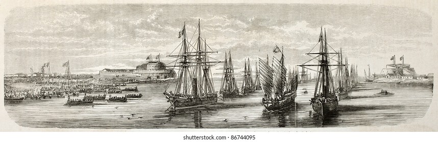 Allied British and French fleets landing in Beitang, China. Created by Lebreton, published on L'Illustration, Journal Universel, Paris, 1860