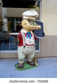 Alligator Chef outside Cajun Restaurant in Louisiana