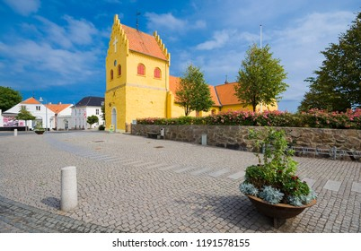 ALLINGE, DENMARK - AUGUST 24, 2018: View of Allinge Church. Built about 1500, rebuilt in 1892 it in the Neogothic style, Bornholm