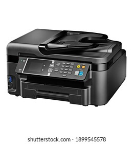All-In-One Photo Document Inkjet Printer Isolated on White. Black Colour Jet Printer Automatic Duplexing and Document Feeder for Scanner. Office Printing Appliances. Peripheral Device. 3D Rendering