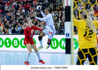 Allison Pineau from France in attack during handball game between France vs Montenegro. Final score: 25 - 22 at IHF World Championship, Germany 2017 - Quarter Finals, Leipzig on 12.12.2017