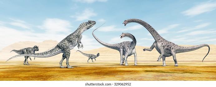 Allosaurus attacks Diplodocus Computer generated 3D illustration