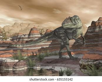 Allosaurus dinosaur in the desert - 3D render