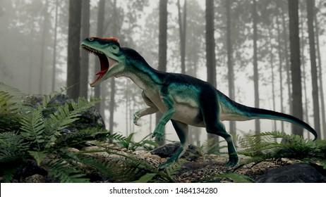 Allosaurus prehistoric carnivore dinosaur 3d render in the forest
