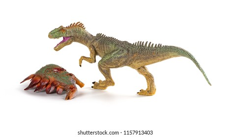 allosaurus with a stegosaurus body nearby on white background
