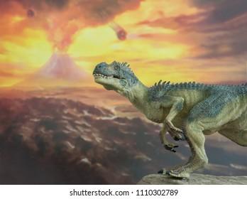 Allosaurus with volcano behind it