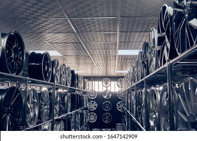 Alloy car wheels in a store