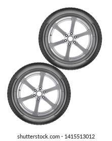alloy wheels set isolated on a white background closeup