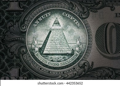 all-seeing eye on the one dollar. New world order. elite characters. 1 dollar. Mason sign symbol