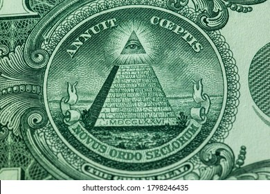 All-seeing eye present in the one dollar note, symbol of Freemasonry