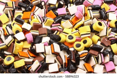 Allsorts liquorice as a colorful  and sweet background