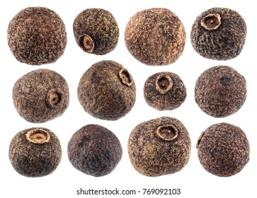 Allspice isolated on white background closeup. Black pepper collection