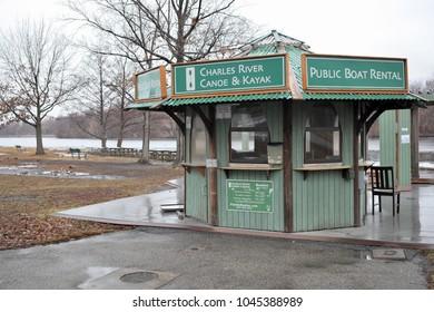 Allston Brighton,  MA. USA - 01/14/2014: A view of the public boat rental hut on the Charles River, Allston Brighton, MA. USA on 01/14/2014