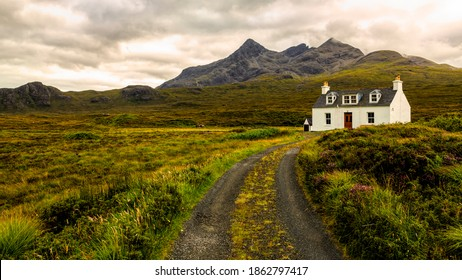 Alltdearg cottage at Sligachan on the Isle of Skye,Scotlandwith the mountain Sgurr Nan Gillean in the background.