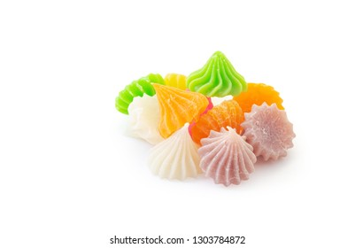 Allure Thai dessert made by flour and cocunut milk, isolated on white background