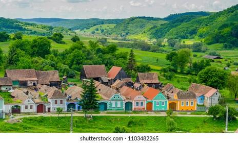 Alma Vii village and fortified church from Sibiu county, Transylvania, Romania