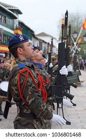 Almagro, Spain - April 18, 2010: Military parade of flag swears in the square of the town of Almagro.
