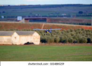 Almagro, Spain - January 27, 2018: Model airplane approaching to land.