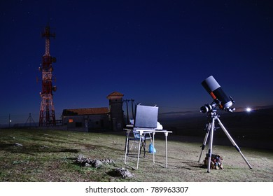 Almagro, Spain - January 4, 2015: Smiht-Cassegrain Telescope Astronomical parked and ready for observation and astrophotography.
