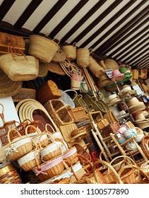 Almagro, Spain - Nov 22, 2010: Traditional craft shop of wickerwork and esparto open in the Plaza Mayor (Main Square) of Almagro, province of Ciudad Real, Castilla la Mancha, Spain
