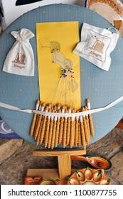 Almagro, Spain - Nov 22, 2010: Bobbin lace (encaje de bolillos), traditional textile crafts from Almagro province of Ciudad Real, Castilla la Mancha, Spain