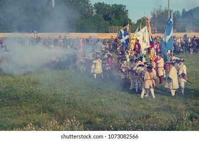 Almansa, Spain, April 2017. Recreation of the famous Almansa battle of 1707, within the War of Spanish Succession, in which various groups from all over Europe participate.