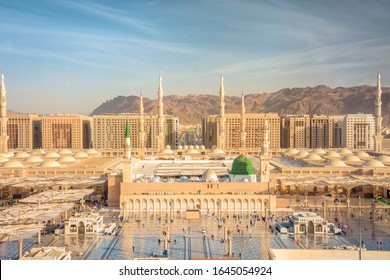 Al-Masjid an-Nabawi (Prophet's Mosque) in Medina city, Saudi Arabia