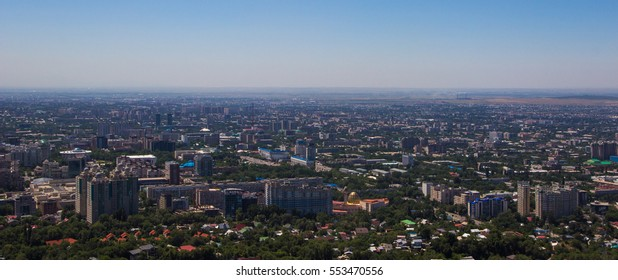 Almaty city view from Koktobe hill, Kazakhstan, summer