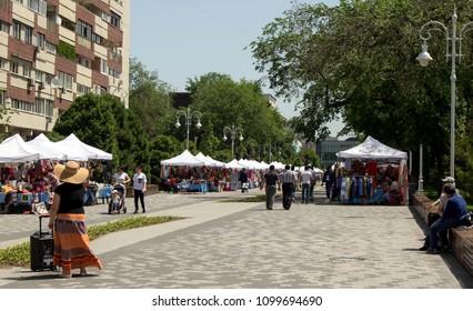 Almaty, Kazakhstan - 05.27.2018: Zhibek Zholy Street. people in the center of Almaty. Early spring time, Almaty Arbat