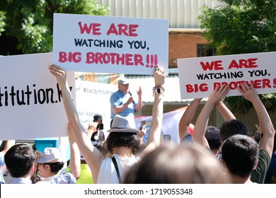 Almaty / Kazakhstan - 06.30.2019 : Poster of one of the participants of a peaceful rally. Caption: We are watching you, Big Brother