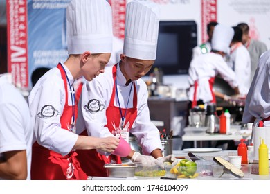 Almaty / Kazakhstan - 09.08.2018 : Chief-battle. Cooking in the open air