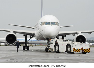 Almaty, Kazakhstan - 09.30.2008 : Refueling of aircraft with fuel on the territory of the airport