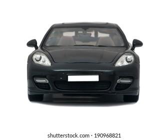 Almaty, Kazakhstan - 10 March 2014: Collectible toy car Porsche Panamera Turbo on a white background