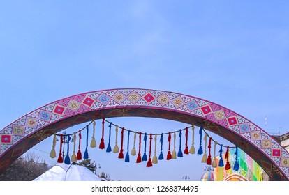 Almaty, Kazakhstan - 22 March 2018: Street decoration with elements of Kazakh yourt at Nauryz celebration.