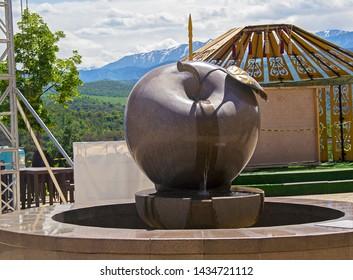 Almaty, Kazakhstan - 6 June 2019: Kok Tobe Hill. Fountain 'Apple', city symbol (Almaty means 'Apple City')