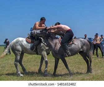 Almaty, Kazakhstan - 7 June 2019: Ethnic Festival 'Uly Dala' (Great Steppe). 'Audaryspak' - Kazakh national horse wrestling