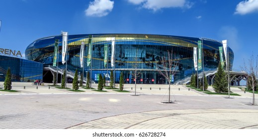 ALMATY, KAZAKHSTAN - APRIL 23, 2017: Ice complex - Almaty Arena, was built in 2016 for Winter Universiade in Almaty city.