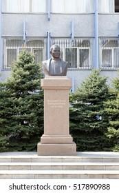 Almaty, Kazakhstan - August 29, 2016: Tynyshpaev Bust, Mukhamedzhan Tynyshpaevich. The first Kazakh railway engineer.