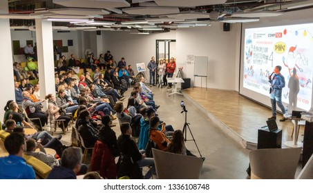 ALMATY, KAZAKHSTAN - DECEMBER 11, 2018: A lot of unidentified people came to the presentation of the sport calendar for the next year at a conference in Almaty on December 11, 2018.
