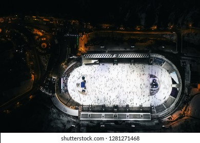 ALMATY, KAZAKHSTAN - DECEMBER 12, 2018: Aerial view of the Medeo stadium at night in Almaty Kazakhstan.