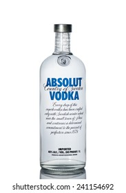 ALMATY, KAZAKHSTAN - DECEMBER 15, 2014: Bottle of Swedish vodka Absolut, Produced by Vin & Sprit.