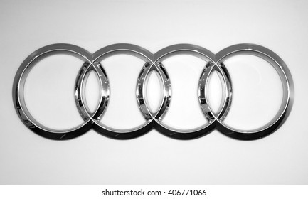 Almaty, Kazakhstan - February 03, 2015: Audi logo on the white background.