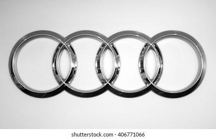 Almaty, Kazakhstan - February 03, 2015: Audi logo on the white background.
