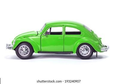 Almaty, Kazakhstan - February 15, 2014: Collectible toy model car Volkswagen Beetle.