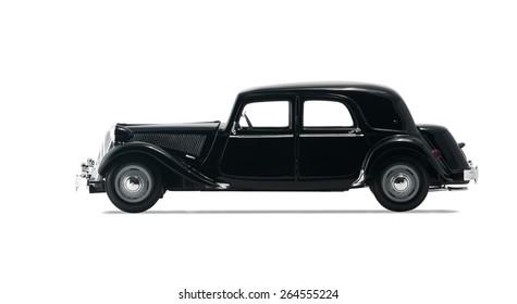 ALMATY, KAZAKHSTAN - FEBRUARY 23, 2014: Black vintage retro car isolated on white background