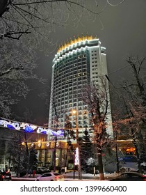 ALMATY, KAZAKHSTAN – January 01, 2019: Kazakhstan Hotel in Almaty, Kazakhstan.  Kazakhstan Hotel was constructed  in 1970 to stand an earthquake that measures 9.0 on the Richter scale.