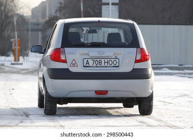 ALMATY, KAZAKHSTAN - JANUARY 1, 2011: Hyundai Getz 1.4 rear view. Hyundai Motor Company is a South Korea's automotive manufacturer